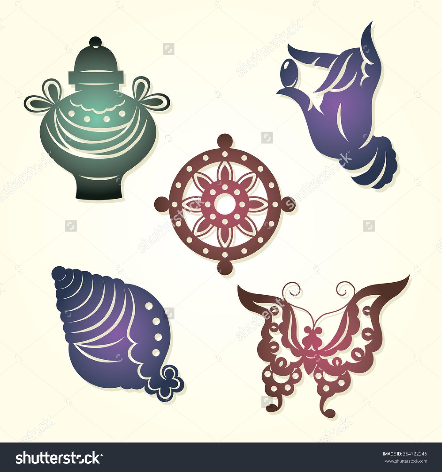 Auspicious symbols clipart clipground chinese lucky symbols buddhas hand happiness stock vector buycottarizona