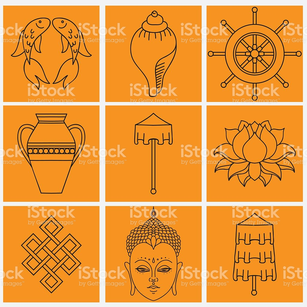 Buddhist Symbolism The 8 Auspicious Symbols Of Buddhism stock.