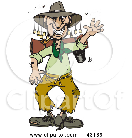 Clipart Illustration of a Hispanic Boy Wearing An Aussie Hat And.