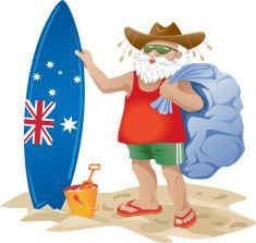 Australian Santa Clause on a beach with surfboard vector art.