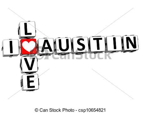 Clip Art of 3D I Love Austin Crossword on white background.