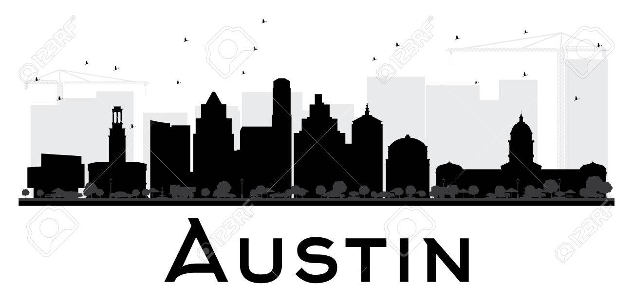 Austin City skyline black and white silhouette. Vector illustration.