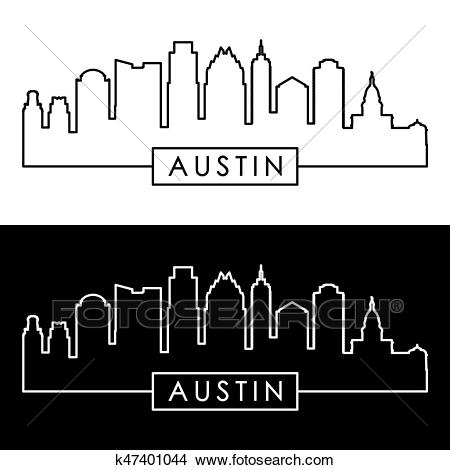 Austin skyline. Linear style. Clipart.