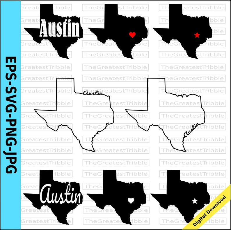 Texas Austin Heart Texas State Capital Star svg png jpg eps Vector Graphic  Clip Art Austin Texas Home Austin Outline Typography Silhouette.