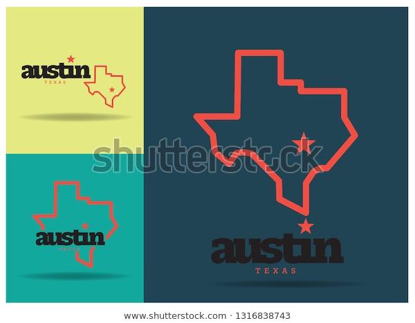 Austin Texas Logo Design Concept Vector Stock Vector.