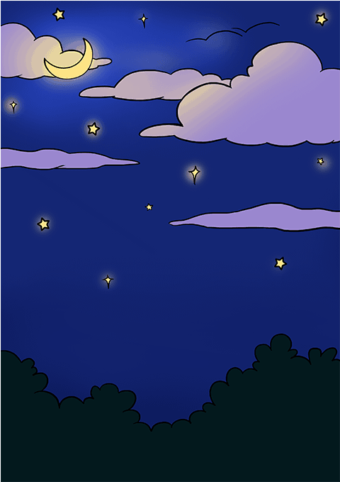 How To Draw Night Sky Draw The Night.