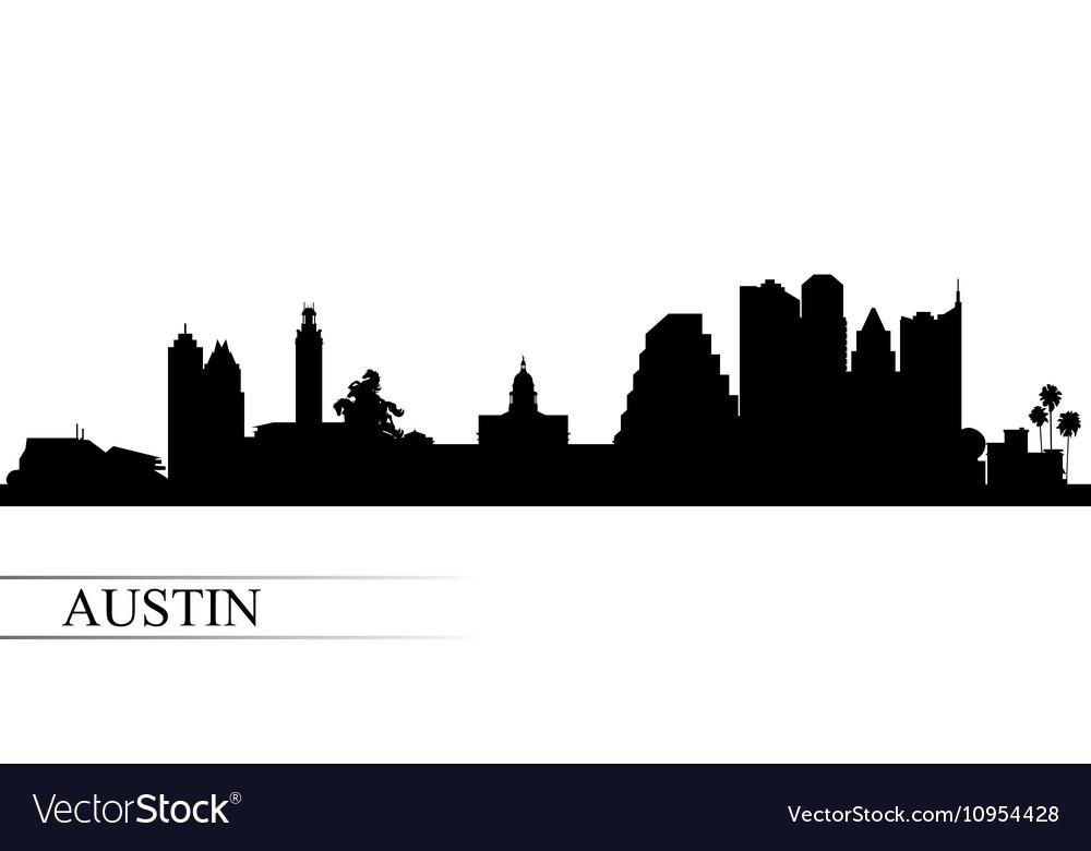 Austin city skyline silhouette background.