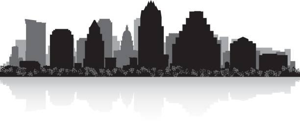Best Silhouette Of Austin Texas Skyline Illustrations.