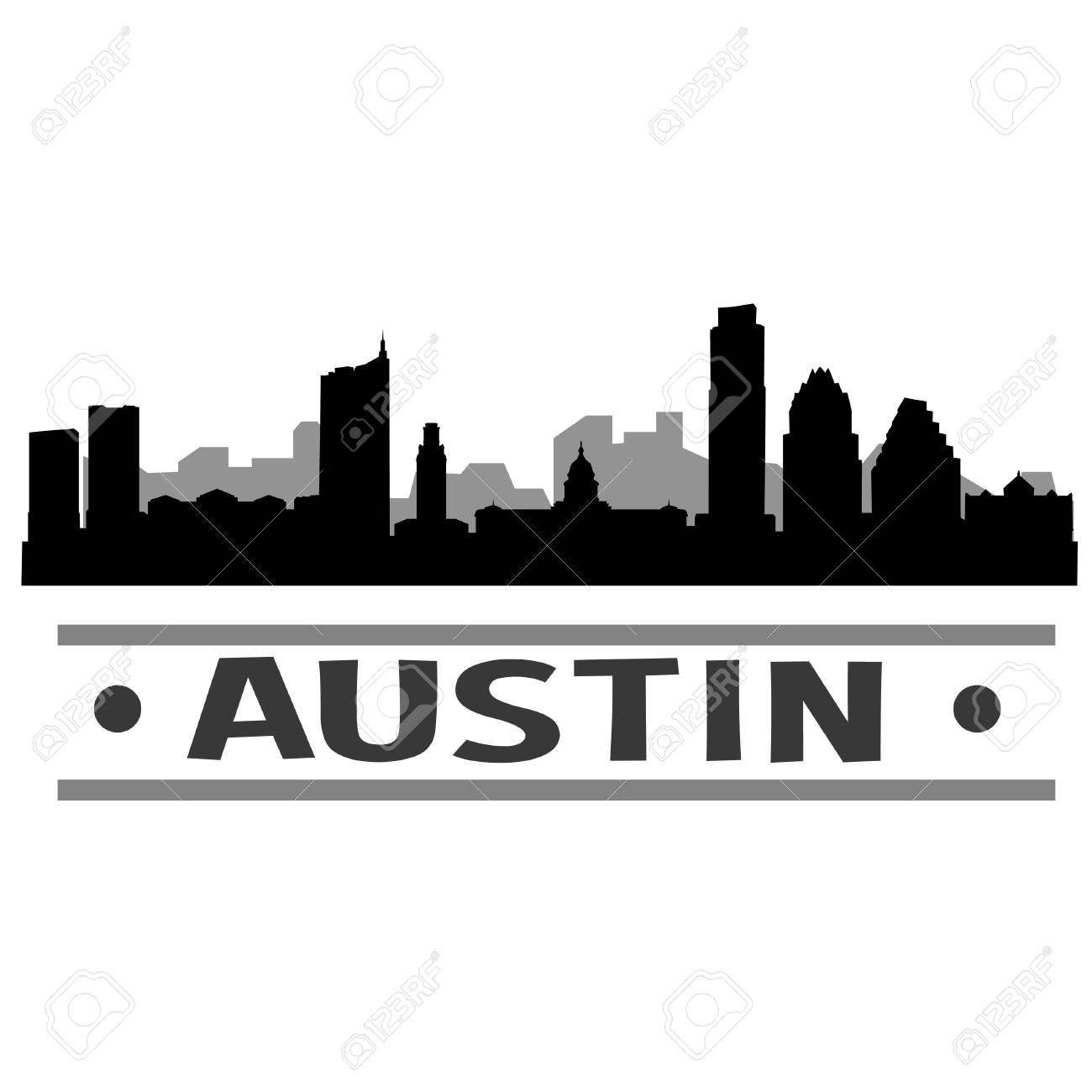 Austin Skyline Vector Art City Design.