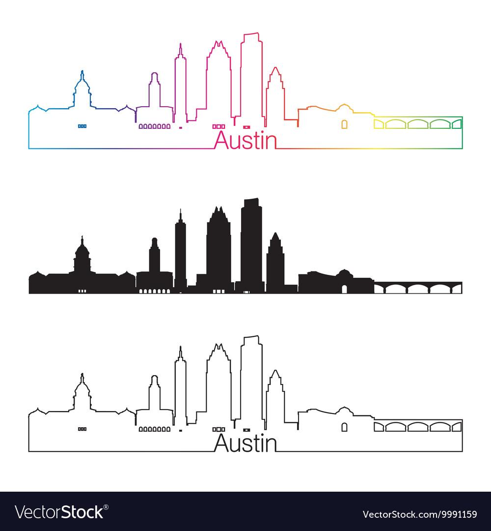 Austin skyline linear style with rainbow.