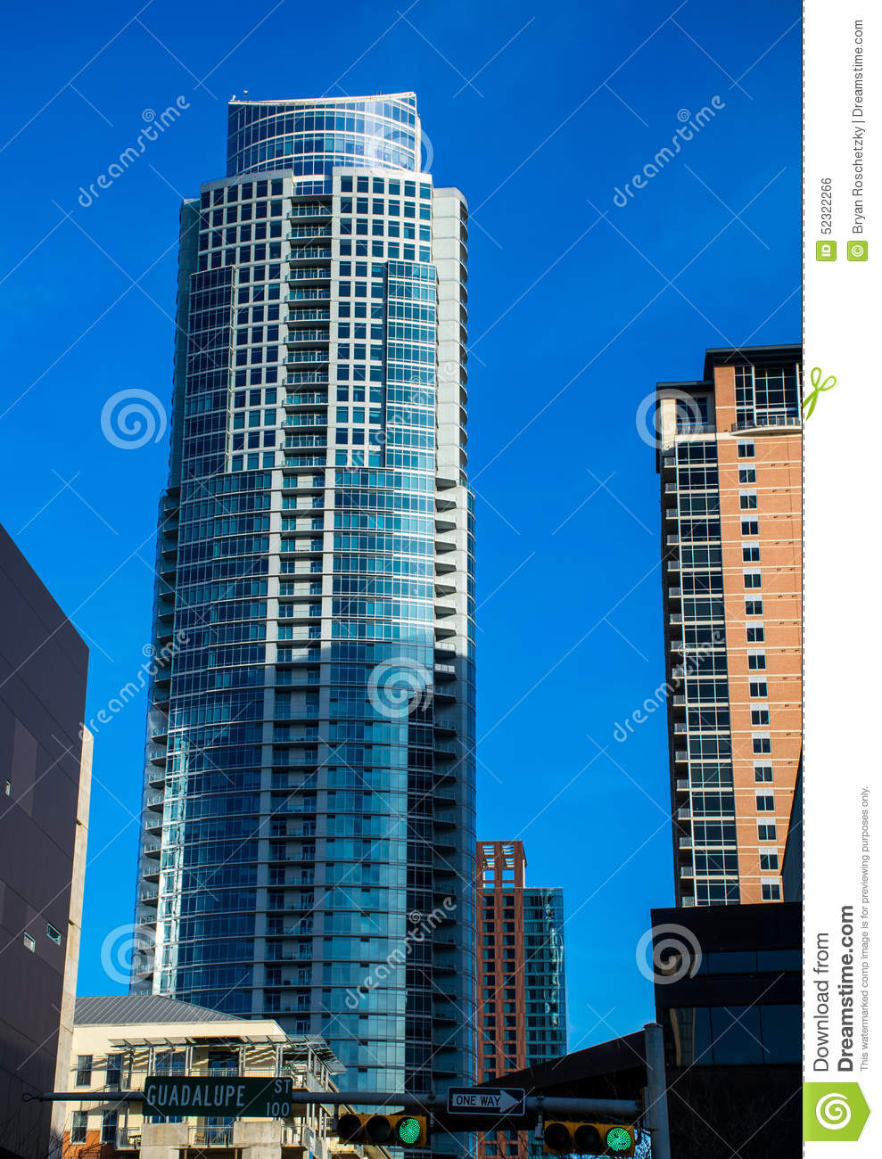 The Austonian Tower In Austin Texas Downtown District Stock Photo.