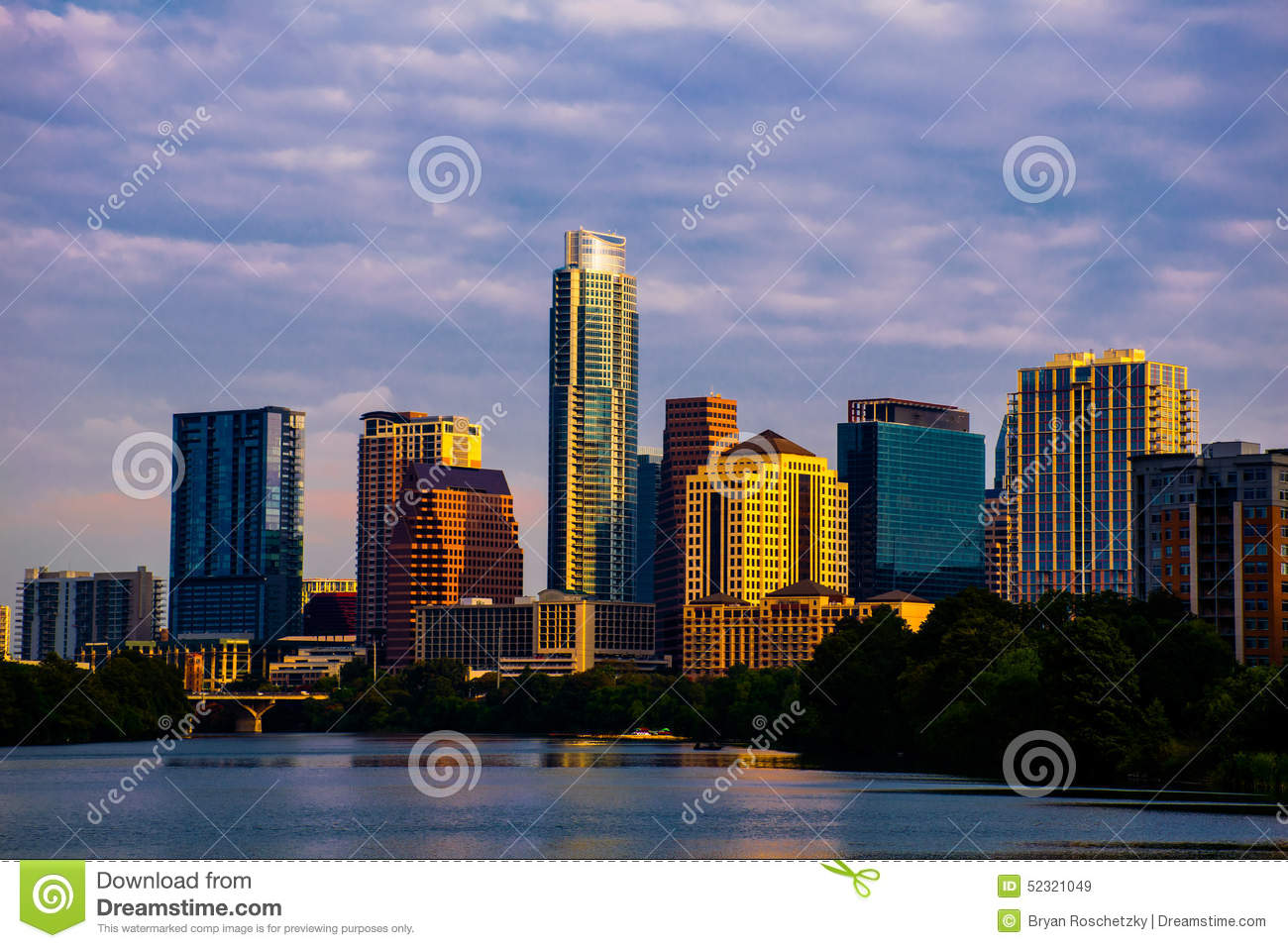 Austin Texas Skyline Cityscape Morning Sunrise Stock Photo.