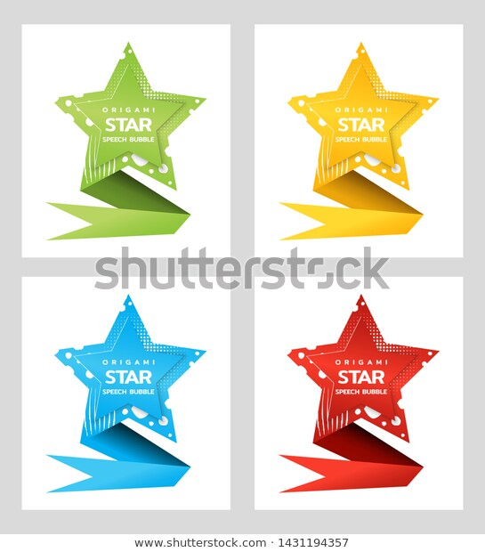 Origami Star Ribbon Text Speech Bubble Stock Vector (Royalty.