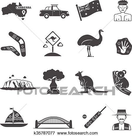 Australia Black White Icons Set Clip Art.
