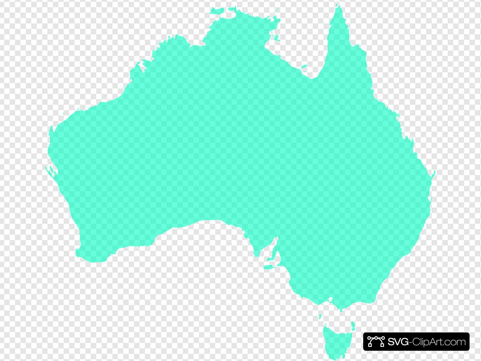 Australia Map Aqua 2 Clip art, Icon and SVG.