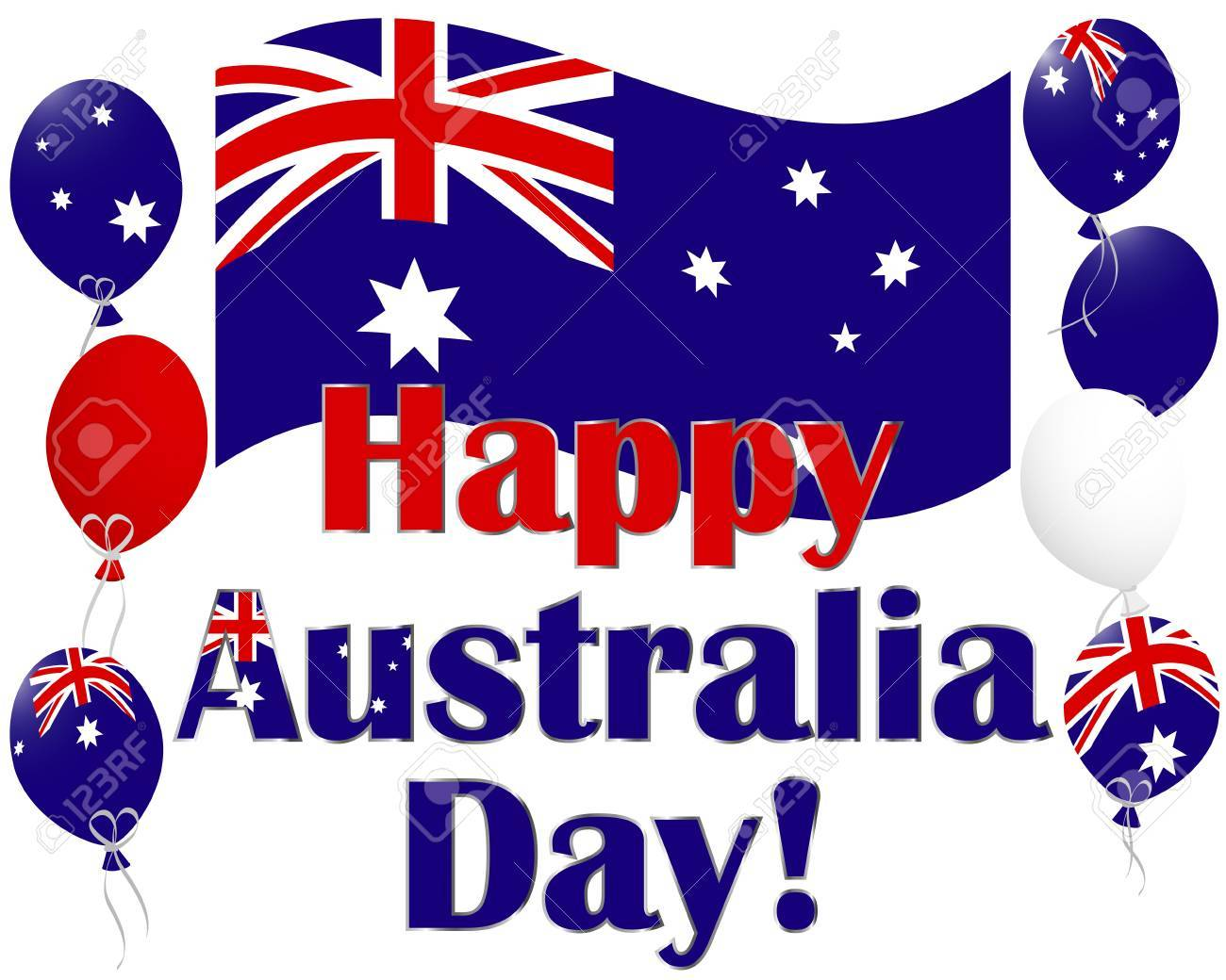Australia Day background with flags and Australia flag balloons.