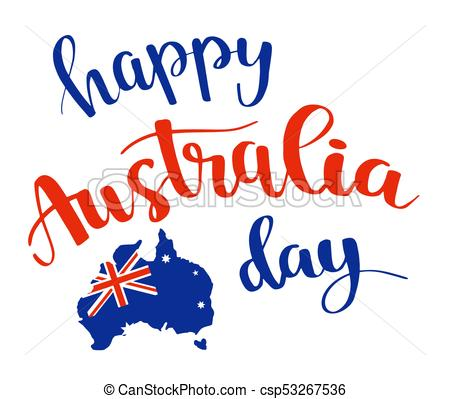 Happy Australia day lettering, calligraphy..