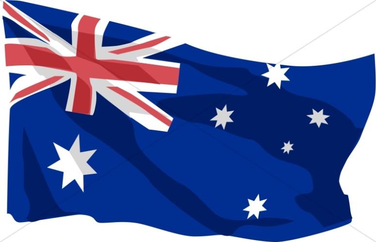 Australian Flag in the Wind.