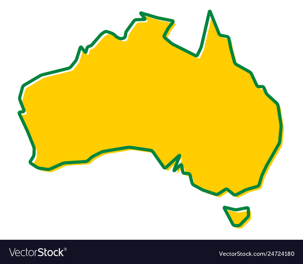 Simplified map of australia outline fill and.