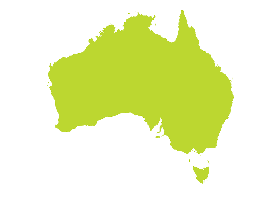 Australia Map in Green PNG Image.