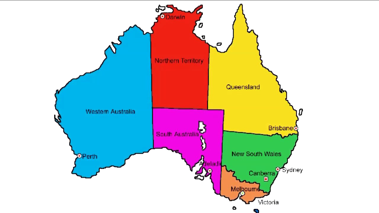 Australia Map with Names PNG Image.