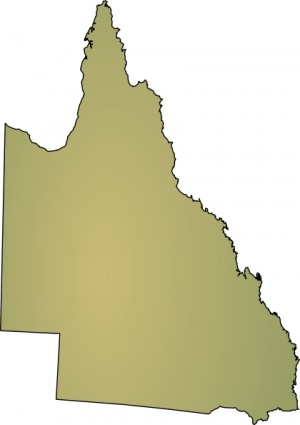 Shaded Geography Australia Map States Queensland Cartoon Blank.