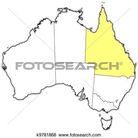 Clip Art of Map of Australia, Queensland highlighted k9781868.