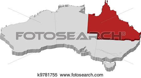 Clipart of Map of Australia, Queensland highlighted k9781755.