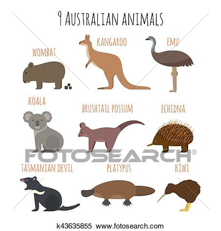 Vector set of Australian animals icons. Clipart.