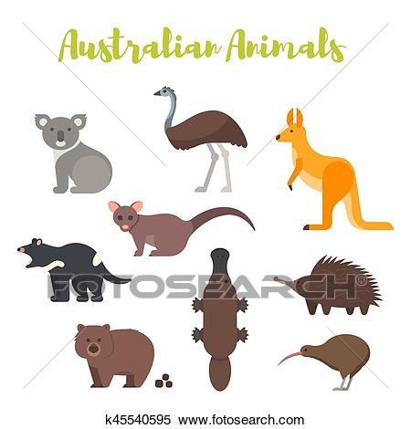 Vector flat style set of Australian animals. Clipart.