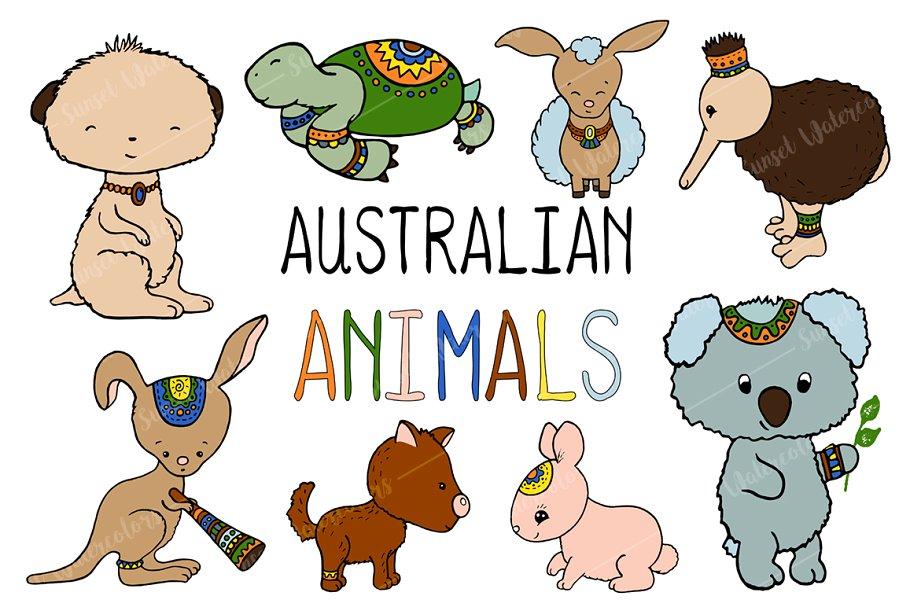 Australian Animals Vector Clipart.