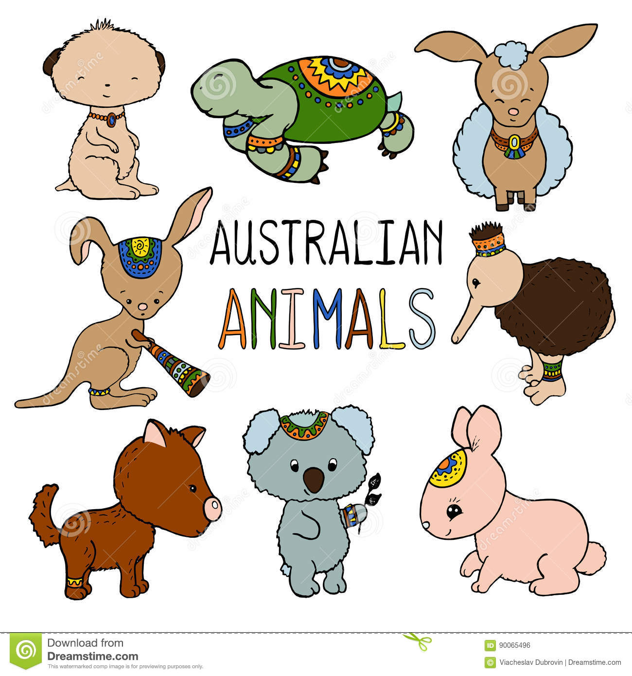 Australian Animals Colorful Illustration On White Background. Stock.