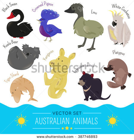 Set Cute Cartoon Australian Animal Icon Stock Vector 387746893.