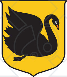 Clipart Illustration of a Black Swan Australian Coat Of Arms.