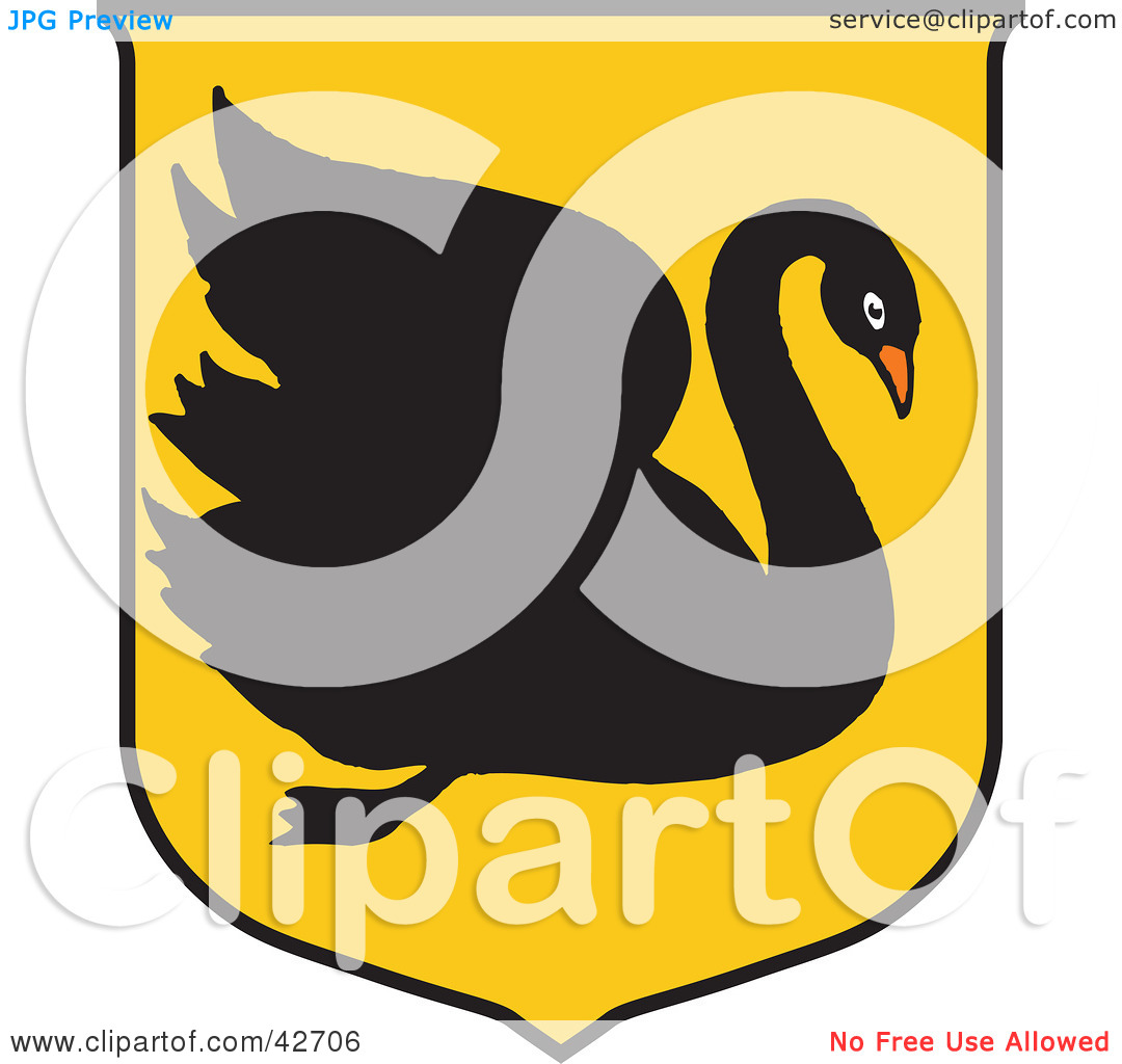 Clipart Illustration of a Black Swan Australian Coat Of Arms by.