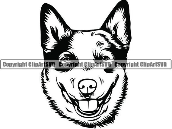 Australian Cattle Dog #4 Smiling Aussie Happy Breed Puppy Canine Pedigree  Purebred Animal Pet Logo .SVG .PNG Vector Cricut Cut Cutting File.