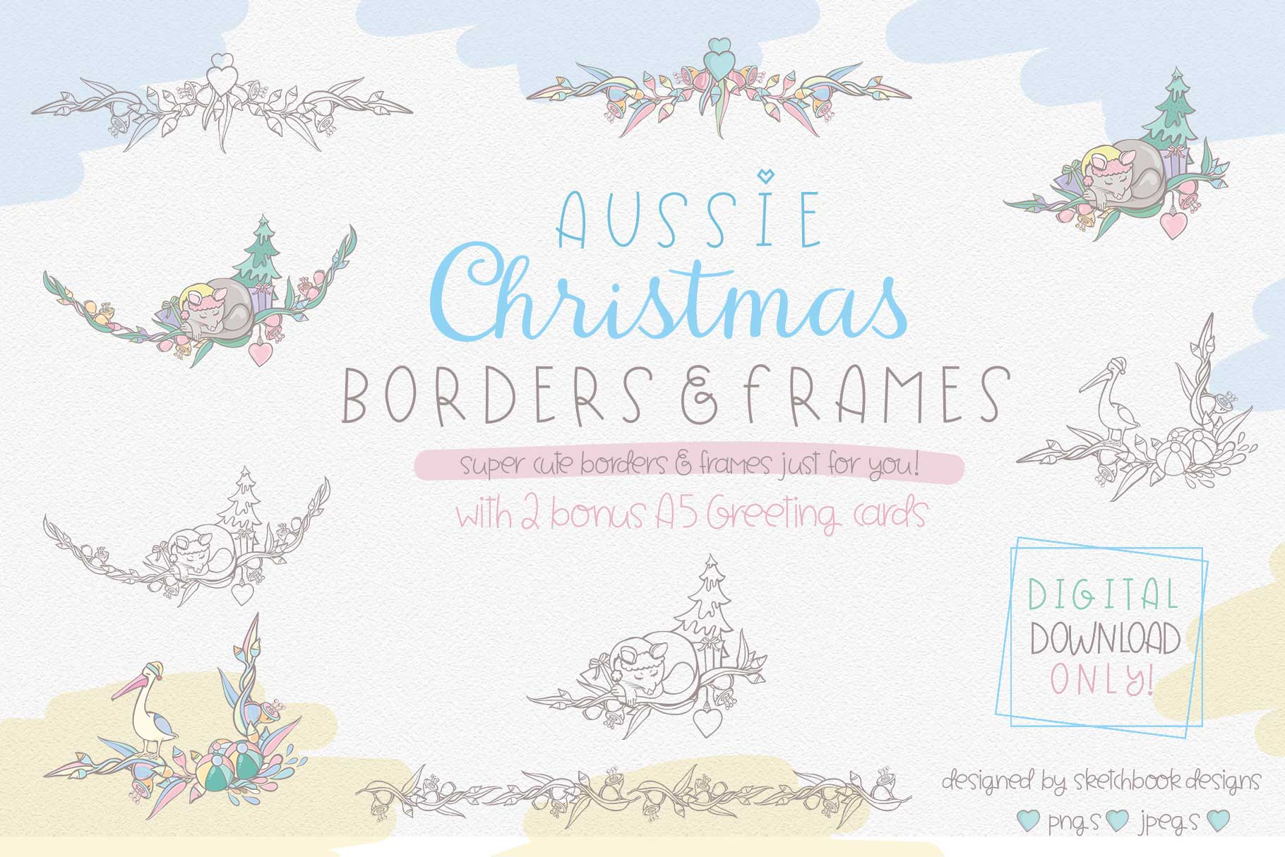 Cute Australian Christmas Borders & Frames.