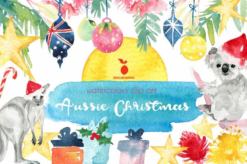 Tropical Christmas Clipart, Australia Christmas Clipart, Aussie Christmas,  Koala, Kangaroo, Summer Christmas, Bauble, Christmas animals.