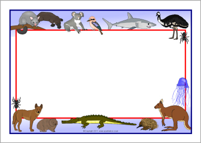 Australian animals A4 page borders.