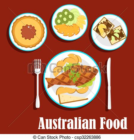 Vector of Fresh australian cuisine dishes, flat style.