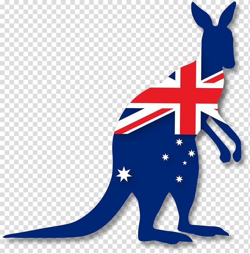 Kangaroo and Australia flag illustration, Flag of Australia.