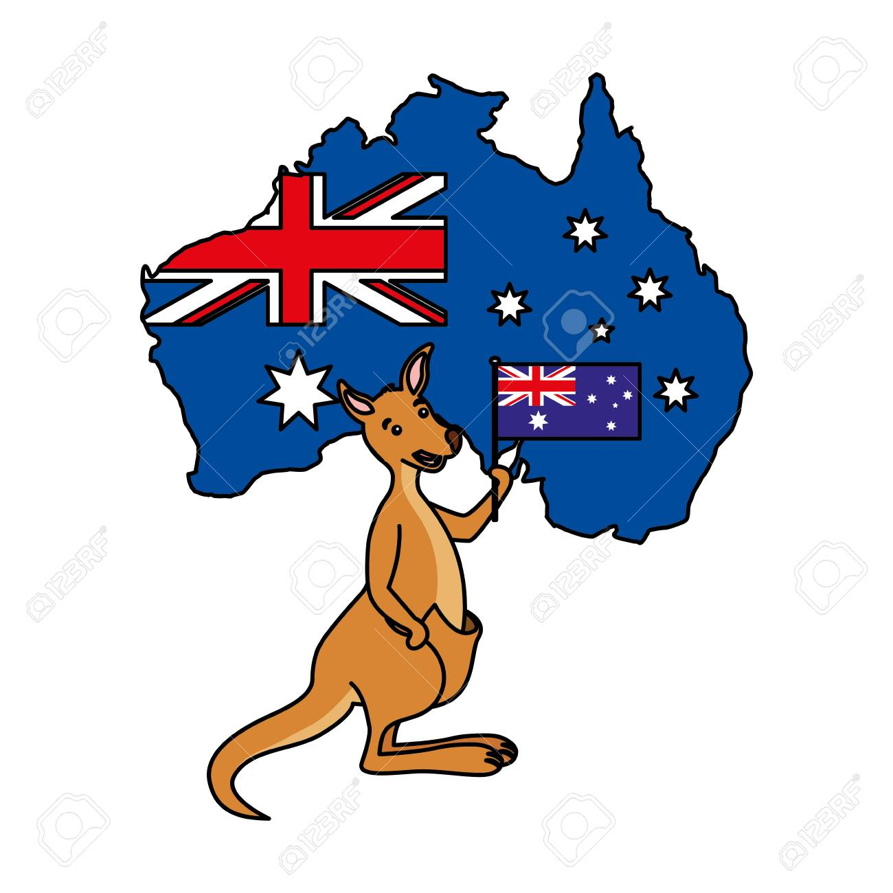 kangaroo with hat australian flag map vector illustration.