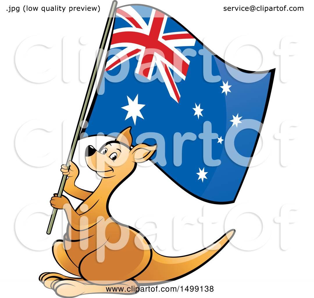 Clipart of a Kangaroo Holding an Australian Flag.