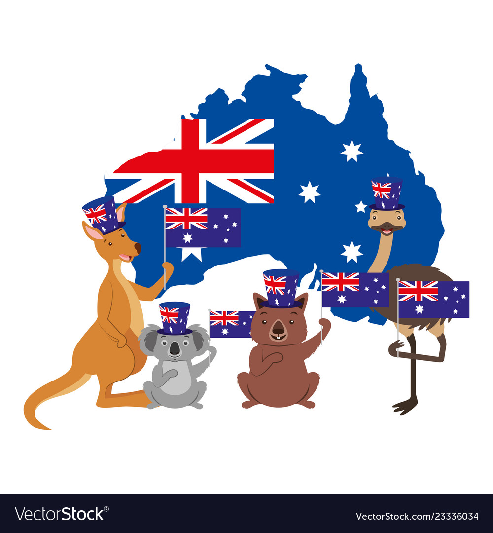 Kangaroo koala wombat and emu australian flag map.