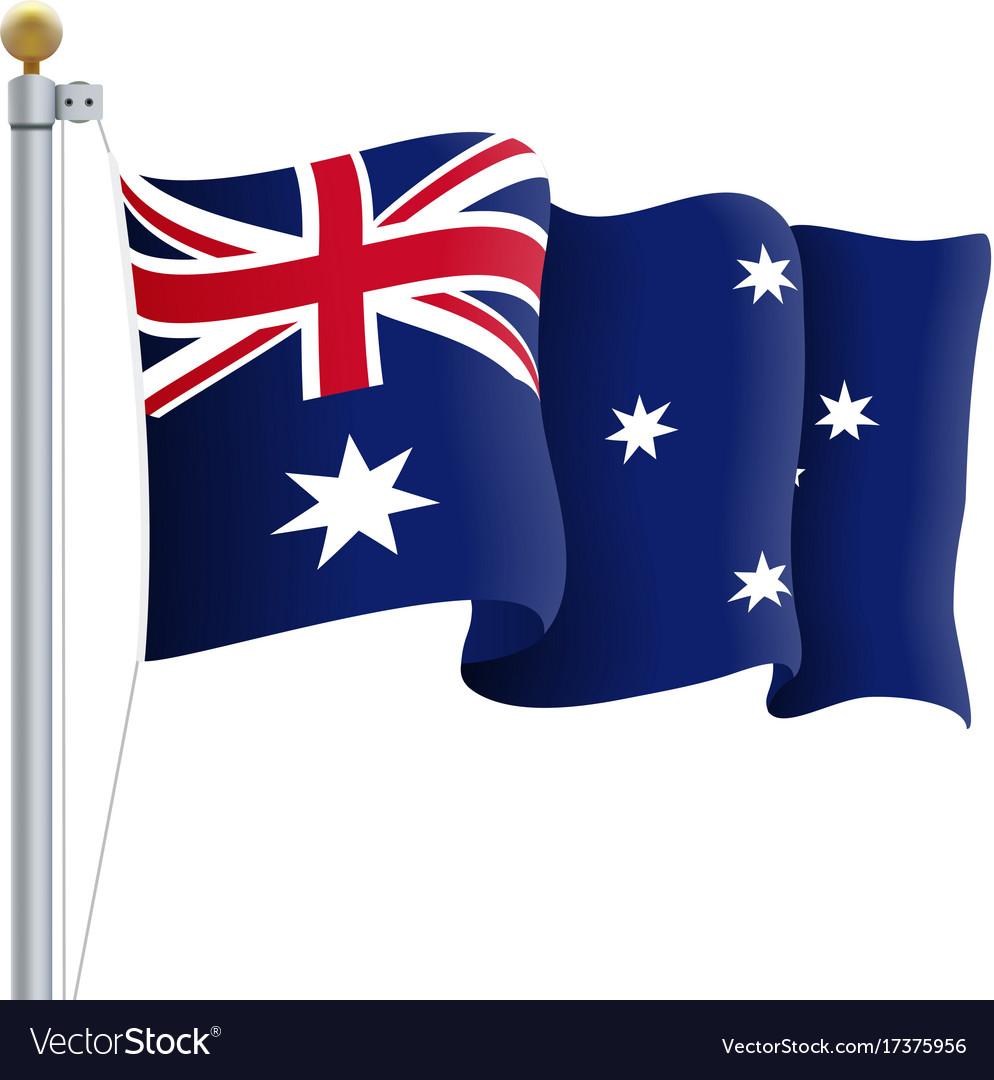Waving australia flag isolated on a white.