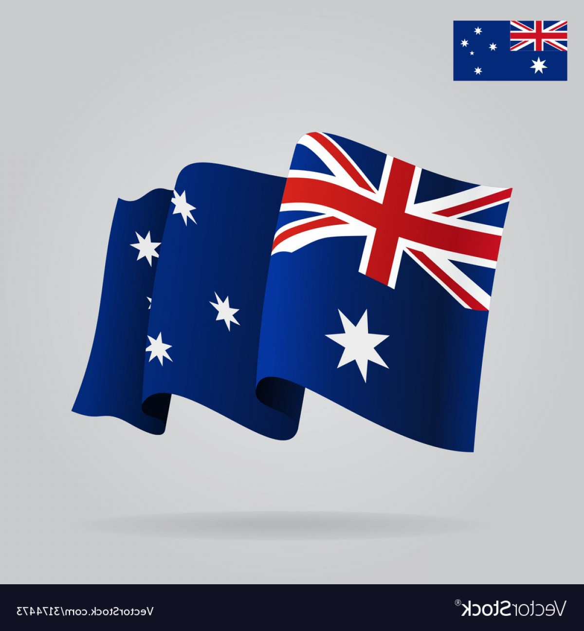 Flat And Waving Australian Flag Vector.