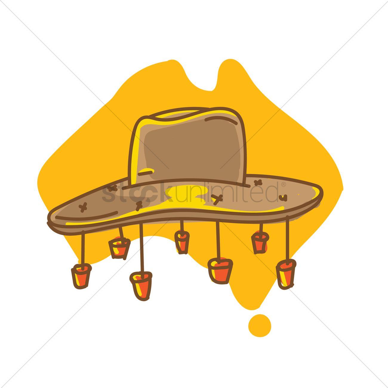 Cork hat on australia map Vector Image.