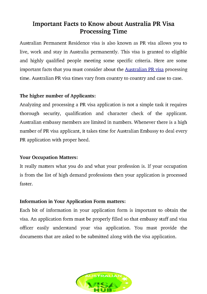 Know Important Facts on Australia PR Visa Processing Time.