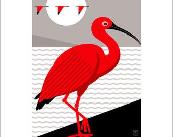ibis bird art.