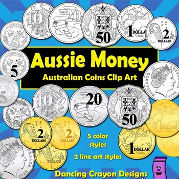 Money: Australian Coins Currency Clip Art Set.